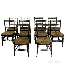 Assembled Set of Ten Turned Rush-seat Fancy Chairs