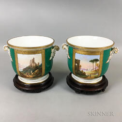 Pair of French Porcelain Cache Pots and Stands