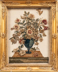 Framed French Silk Still Life with Raised Silk Chenille Embroidery