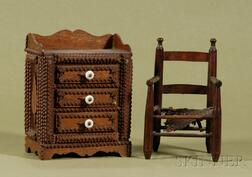 American Country Ash Doll Armchair and a Miniature Tramp Art Chest