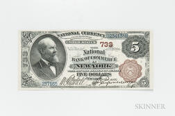 1882 The National Bank of Commerce in New York Brown Back $5 Note