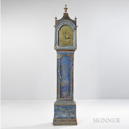 Blue-painted and Gilt-paper Applique-decorated Tall Clock