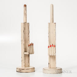 Pair of Carved and Painted Hand-form Hat and Glove Holders