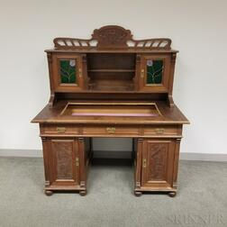 Aesthetic Movement Carved and Glazed Walnut Kneehole Desk