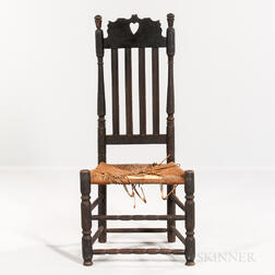 Black-painted Heart and Crown Bannister-back Chair