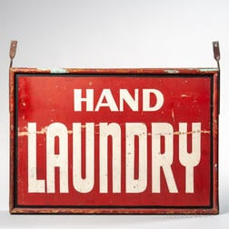 """Painted Double-sided """"Hand Laundry"""" Sign"""