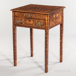 Continental Mahogany, Mahogany-veneered, and Marquetry Side Table