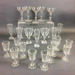 Twenty-three Pieces of Colorless Glass Stemware
