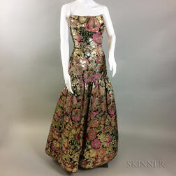 Arnold Scaasi Silk Brocade Floral Gown