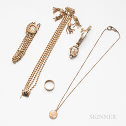 Five Pieces of 14kt Gold and Gold-filled Jewelry