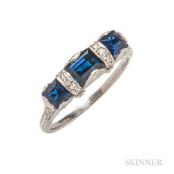 Art Deco Platinum, Sapphire, and Diamond Ring