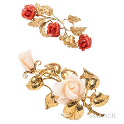 Two Coral Flower Brooches