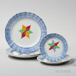 Five Blue Spatterware Plates with Star Decoration