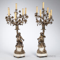 Pair of French Six-light Bronze Candelabra