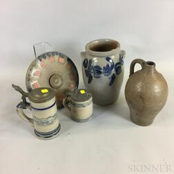Five Cobalt-decorated Stoneware Items