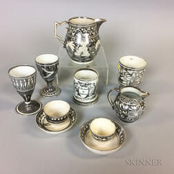 Eight Silver Lustre Ceramic Tableware Items