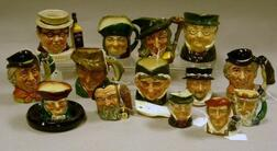 Fourteen Small, Mid-size and Miniature Royal Doulton Character Jugs and Smoking   Item