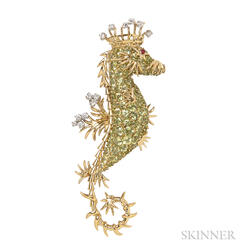 18kt Gold, Peridot, Diamond, and Ruby Brooch, Schlumberger for Tiffany & Co.