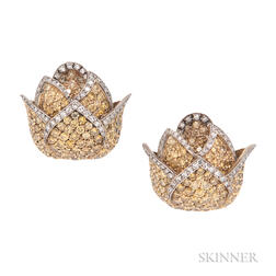 18kt Gold, Colored Diamond, and Diamond Earclips, Evelyn Clothier