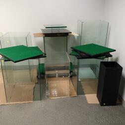 Eight Glass and Plexiglas Display Cases and Shelves.     Estimate $20-200
