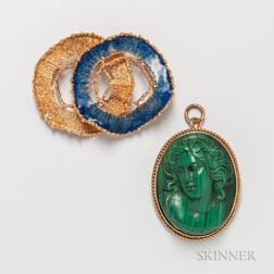 Modern 18kt Gold and Enamel Brooch and a 14kt Gold and Malachite Cameo Brooch