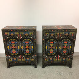 Pair of Polychrome Lacquer Cabinets