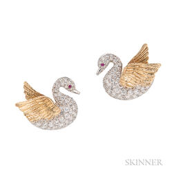 18kt Gold and Diamond Swan Earclips, Evelyn Clothier