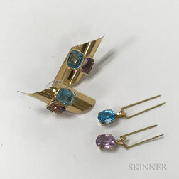 Pair of 14kt Gold, Amethyst, and Aquamarine Earrings, a Blue Topaz Pendant, and an Amethyst Pendant