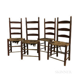 Set of Four Red-Painted Ladder-back Side Chairs