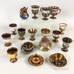Twenty Copper Lustre Ceramic Items