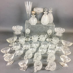 Thirty-four Pieces of Colorless Cut Glass Tableware.     Estimate $20-200