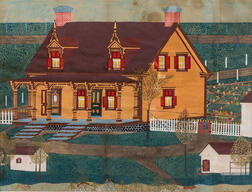 American/Canadian School, Late 19th/Early 20th Century      Portrait of a Yellow Victorian House.