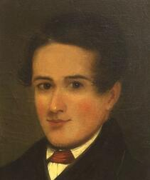 American School, 19th Century,    Portrait of a Young Man with Rosy Cheeks.