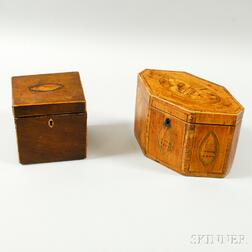 Two Inlaid Mahogany Tea Caddies