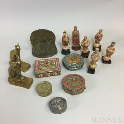 Small Group of Wood and Metal Decorative Items