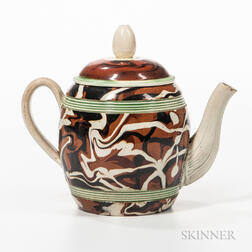 Creamware Slip-marbled Teapot and Cover