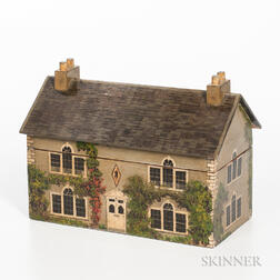 Polychrome Painted House-form Tea Caddy