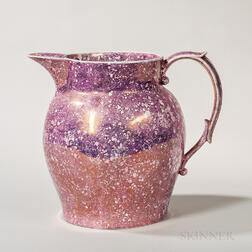 Large Pink Lustre Advertising Jug