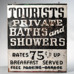 "Painted Double-sided ""Tourists/Private Baths and Showers"" Sign"