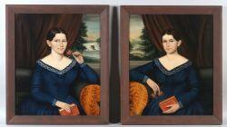 Attributed to Joseph Whiting Stock (Massachusetts, Connecticut, Rhode Island, and New York, 1855) Pair of Portraits of the Thayer Twins