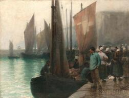 William Edward Norton (American, 1843-1916)      Bustling Fishing Port