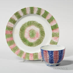 Two Rainbow Spatterware Table Items