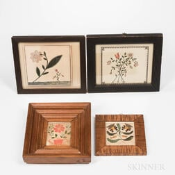 Four Polychrome Floral Watercolor Pictures