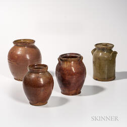 Four Glazed Vermont Redware Jars