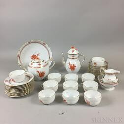 "Forty-piece Herend ""Sepia"" Porcelain Tea Service"