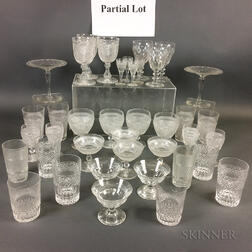 Fifty-seven Pieces of Colorless Glass Tableware