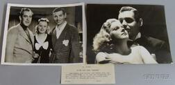 """Two Jean Harlow and Clark Gable """"Saratoga"""" MGM Studio Publicity Press Still   Photographs with Typed Snipes"""