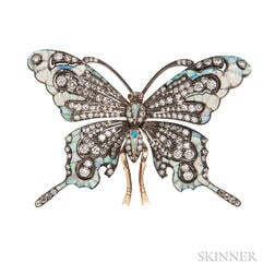 18kt Gold, Opal, and Diamond Butterfly Brooch, Evelyn Clothier