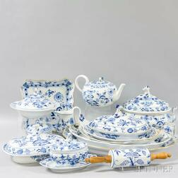Extensive Assembled Set of Mostly Meissen Blue Onion and Blue Danube Ceramic Dinnerware.     Estimate $1,200-1,800