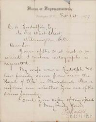 Garfield, James A. (1831-1881) Letter Signed, Washington D.C., 1 February 1877.